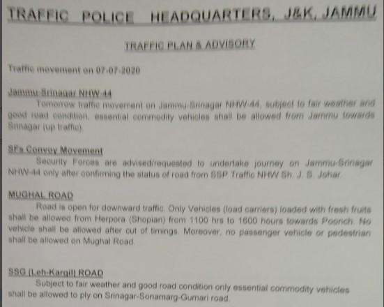 Srinagar Jammu Tomorrow Traffic update 07-07-2020.