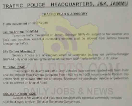 Srinagar Jammu today traffic update 10-07-2020.