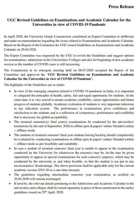 UGC issues revised guidelines for exams, academic calendar.