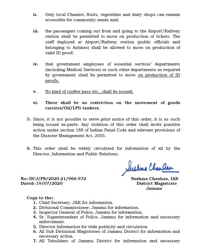 Weekend lockdown, imposed in Jammu.