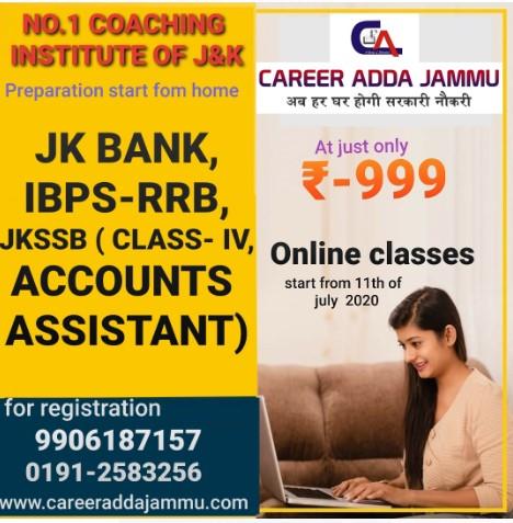 Career Adda Jammu ,going start online classes ,various exams.