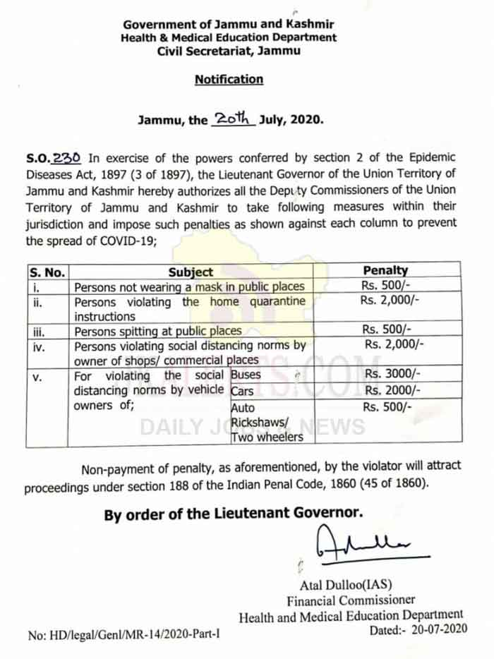 DC to enforce the safety measures & impose penalties for violating the norms. To prevent spread of COVID19, J&K Govt has authorised all Deputy Commissioners to enforce the safety measures & impose penalties for violating the norms.