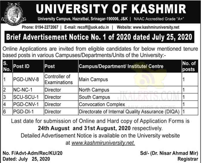Kashmir University Recruitment 2020