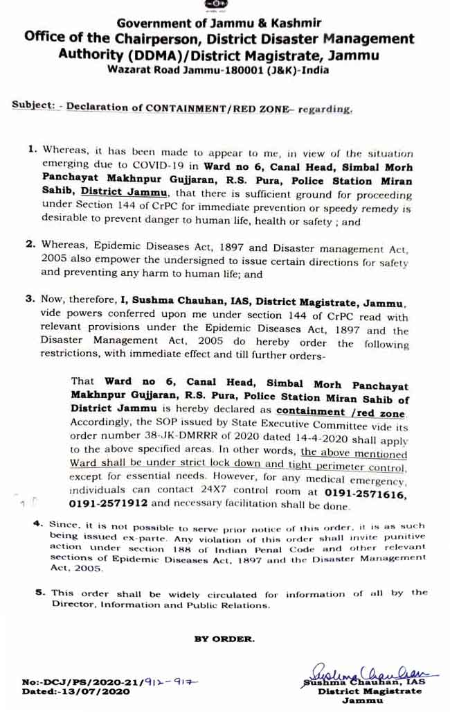 List of containment zones declared in Jammu by DC Jammu