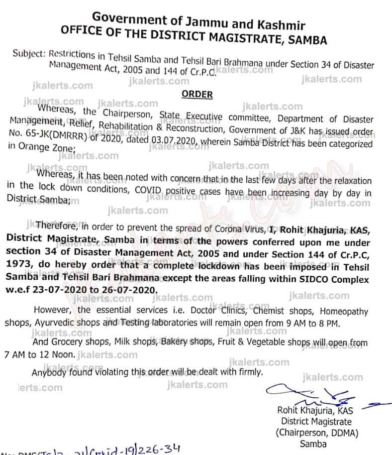 Lockdown imposed in Samba, Bari-Brahmana Tehsils.