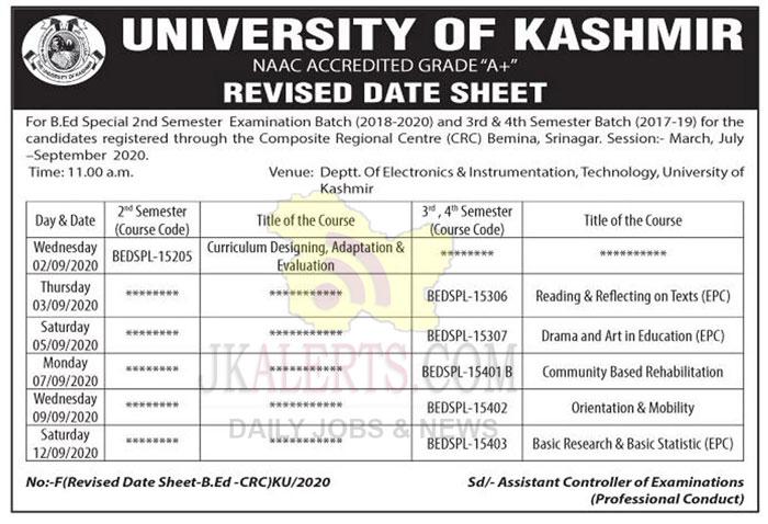 University of Kashmir Date Revised Sheet for B.ED.