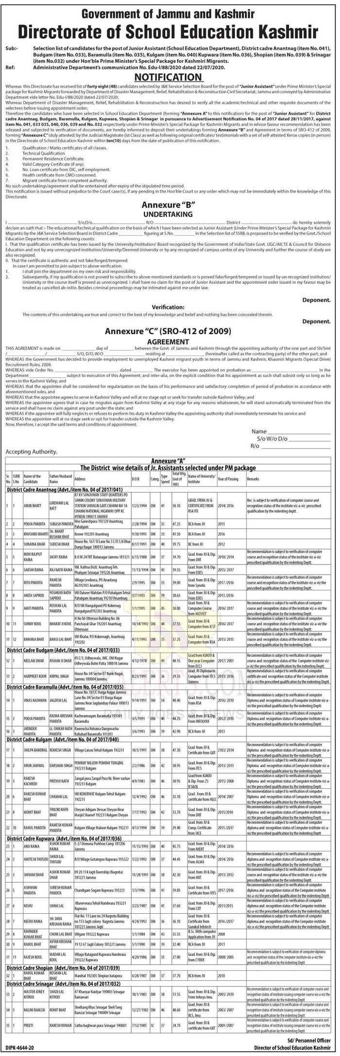 DSE,KashmirSelection list ,candidates , post , Junior Assistant.