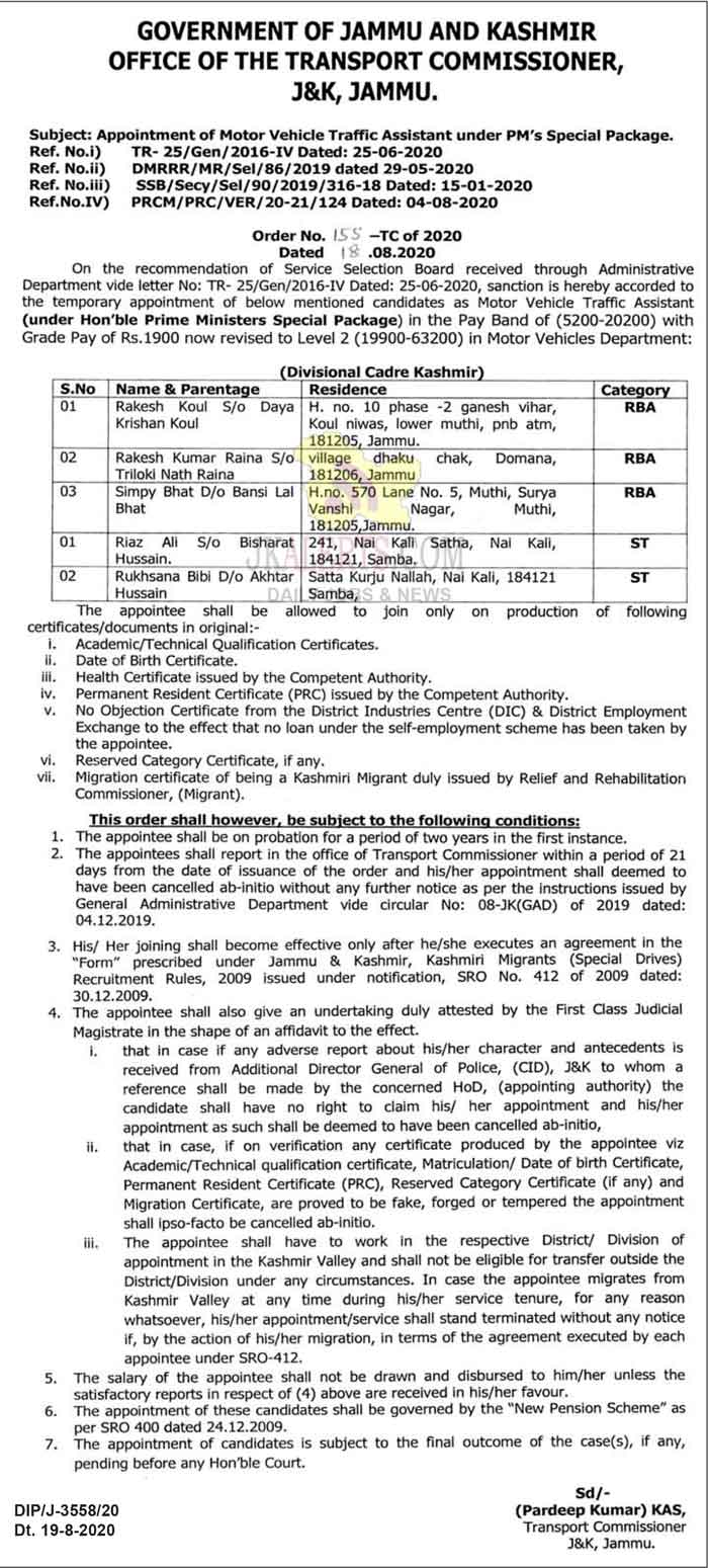 J&K Transport Department Appointment of Motor Vehicle Traffic Assistant.
