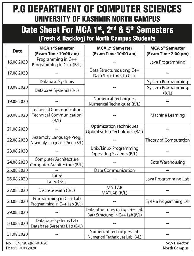 University of Kashmir Date Sheet for MCA 1st 2nd & 5rt Semesters University of Kashmir Date Sheet for MCA 1st 2nd & 5th Semesters
