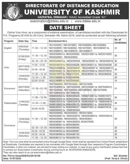 University of Kashmir Date Sheet for (M.A/M.Sc./M.Com)