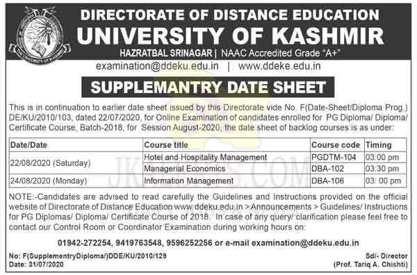 Kashmir University Date Sheet for for PG Diploma/ Diploma/ Certificate Course.
