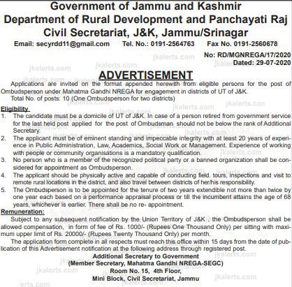 J&K Dept. of Rural Development and Panchayati Raj Recruitment 2020.