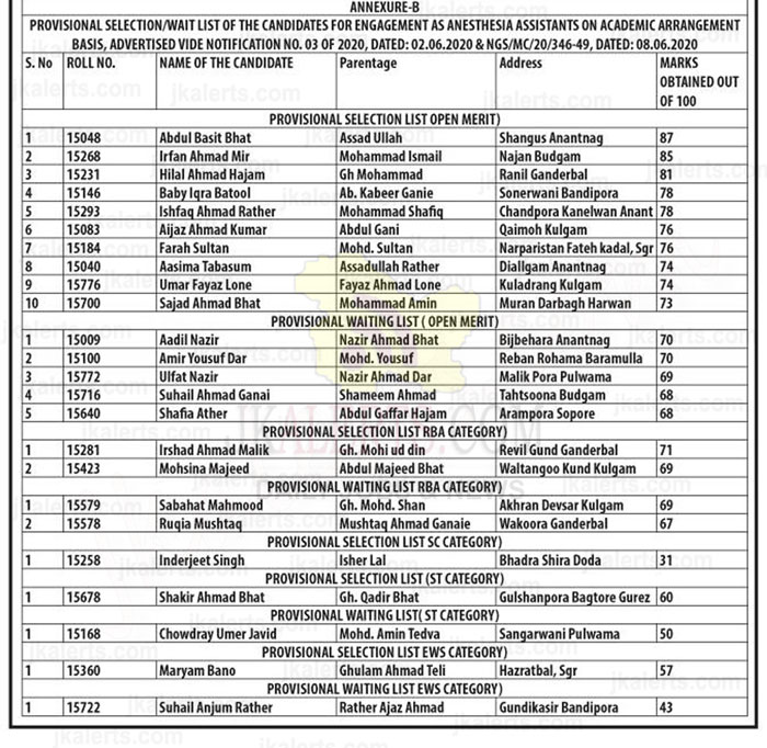 GMC Srinagar Anaesthesia Assistant result of written test.