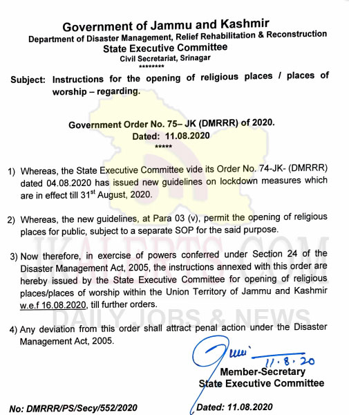 J&K instructions for the opening of religious places / places of worship.