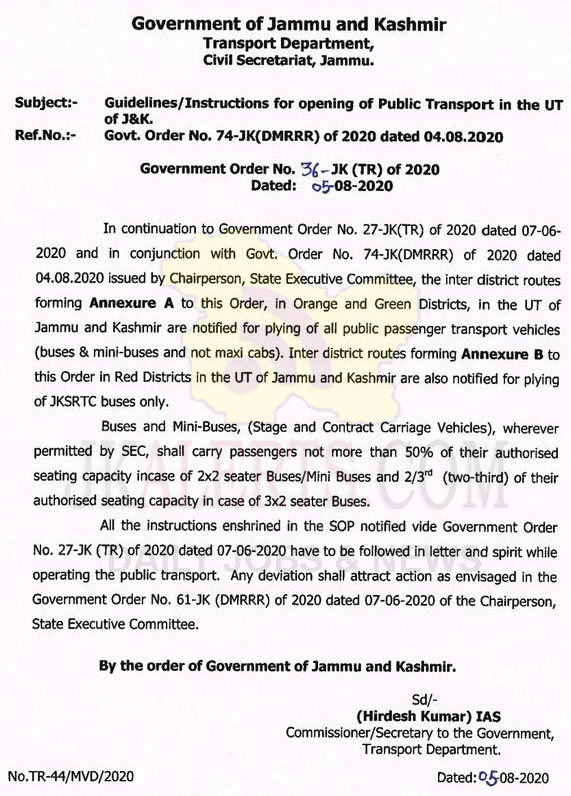 J&K Guidelines/instructions for opening of public transport.