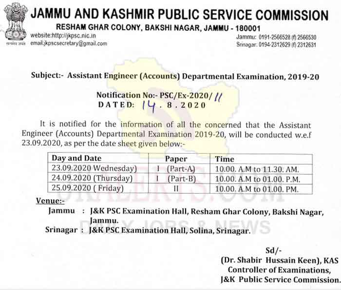 JKPSC Date Sheet for AE Accounts Departmental Examination 2019-20.