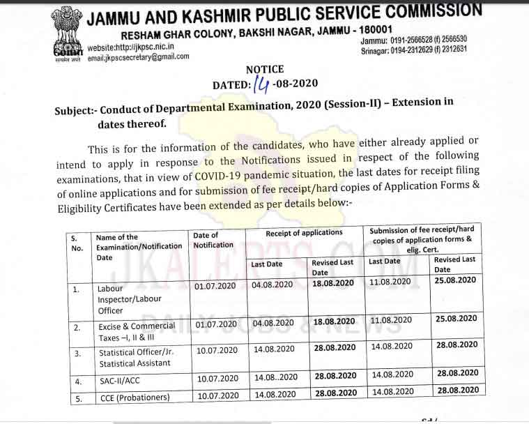 JKPSC, Extended, last date ,various Departmental Examinations.