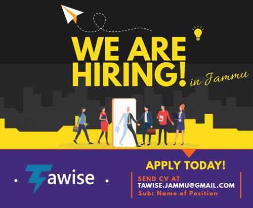 TAWISE Jammu jobs, TAWISE Recruitment 2020, IT Jobs Jammu.