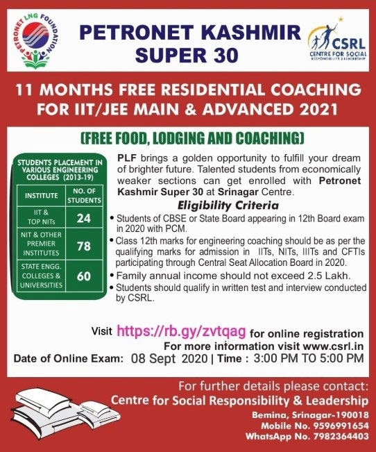 Petronet Kashmir, Super 30, free Residential Coaching for IIT/JEE Main, IIT / JEE Advance.