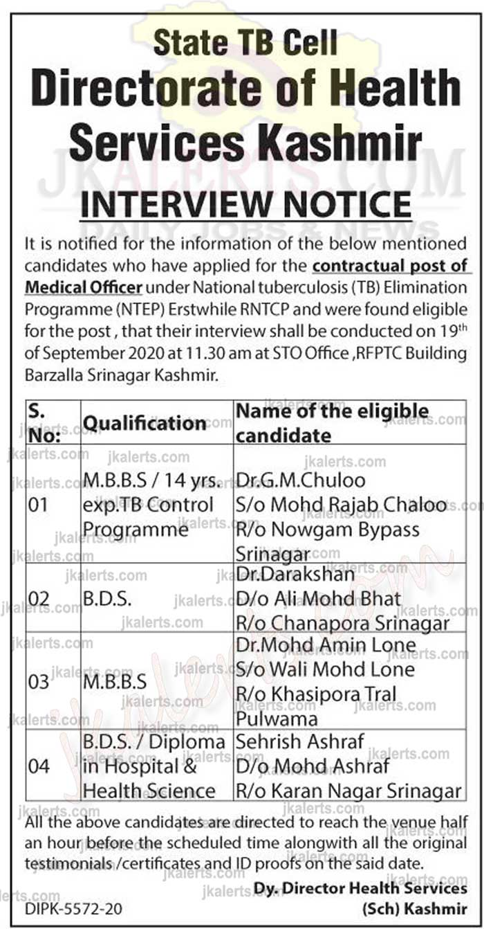 Directorate of Health Services Kashmir Interview Notification.