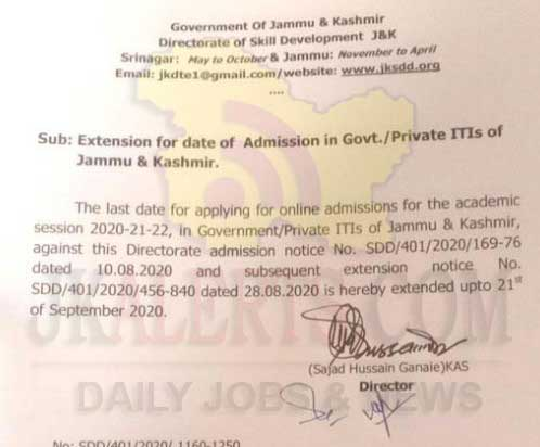 JKDTE Govt. / Private ITIs of J&K Admission for Session 2020-21 Extended.