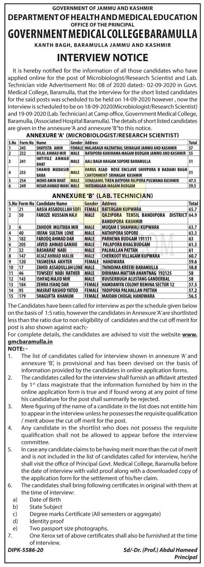 GMC Baramulla Walk in Notification for various posts.