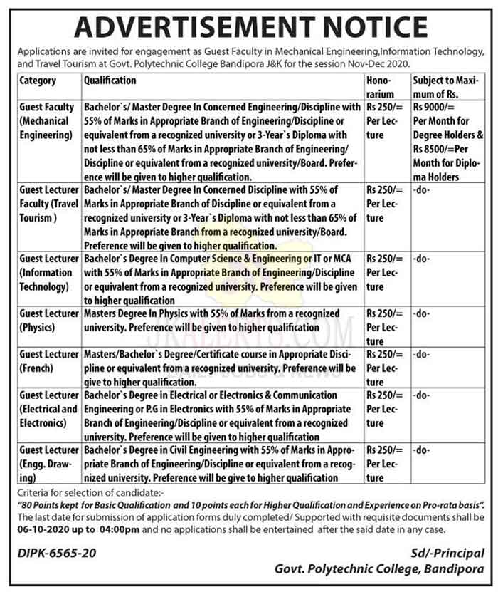 J&K Govt. Polytechnic College, Bandipora Jobs Recruitment 2020.
