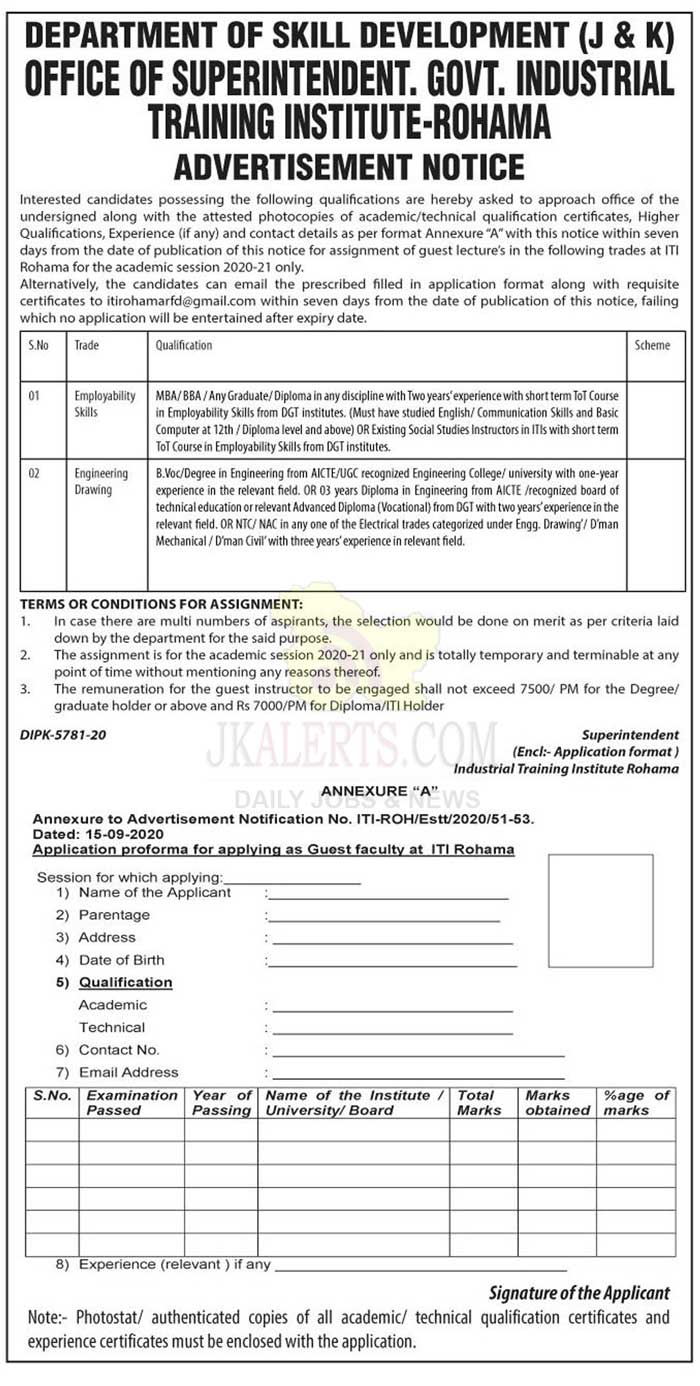 J&K GOVT ITI Rohama Job Recruitment 2020.