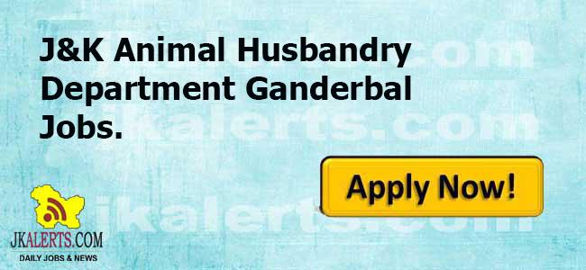 J&K Animal Husbandry Department Ganderbal Jobs.
