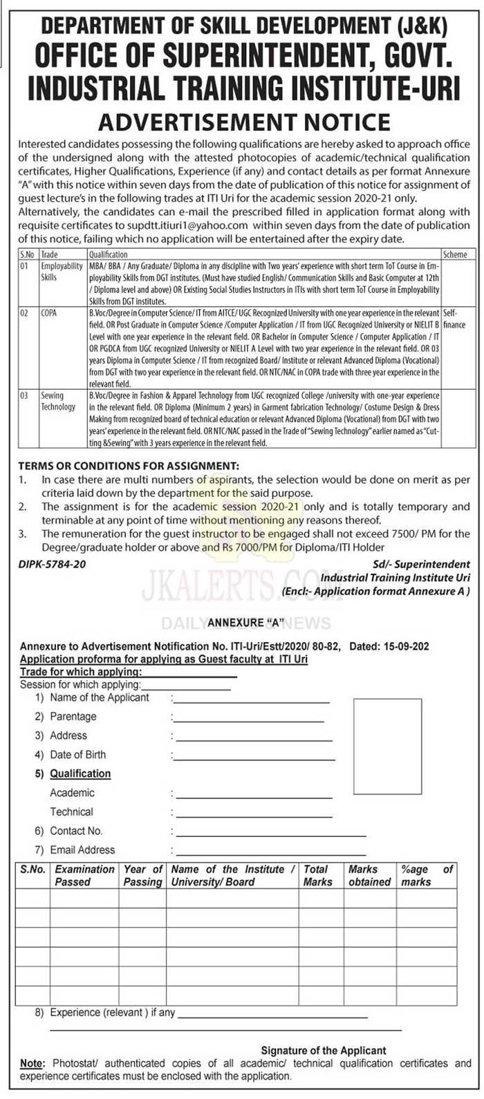 J&K GOVT ITI URI Job Recruitment 2020.