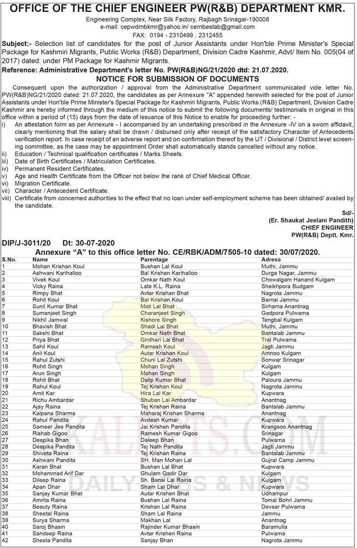 J&K Public Works (R&B) Department Junior Assistants Selection list.