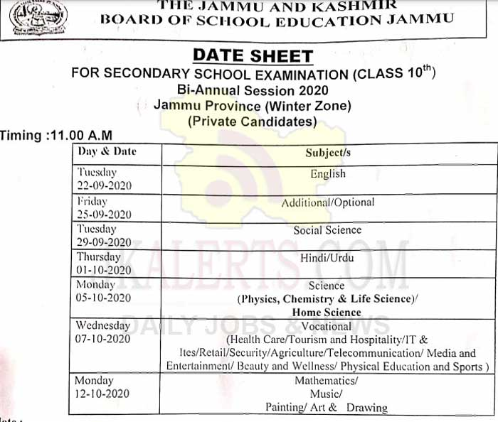 JKBOSE Class 10th Date Sheet Bi Annual Jammu Province winter Zone Private Candidates.