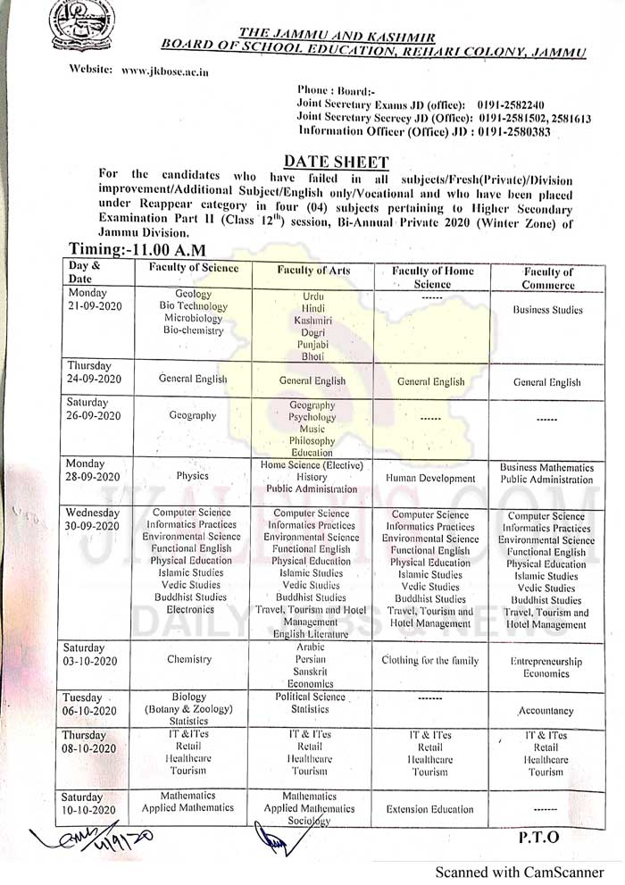 JKBOSE Class 12th Date Sheet Bi-Annual Session 2020 Jammu Division Province (WZ) of Private Candidates