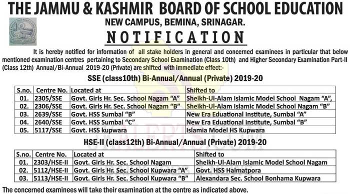 JKBOSE Class 10th, 12th Exam Centre Change / Shift Notification.