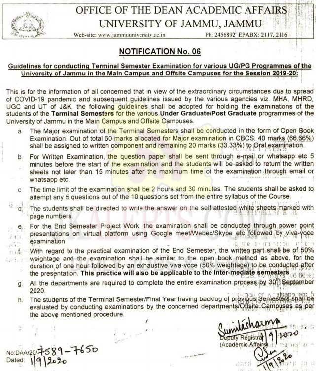 Jammu University Guidelines for conducting Terminal Semester Examination for various UG/PG Programmes.
