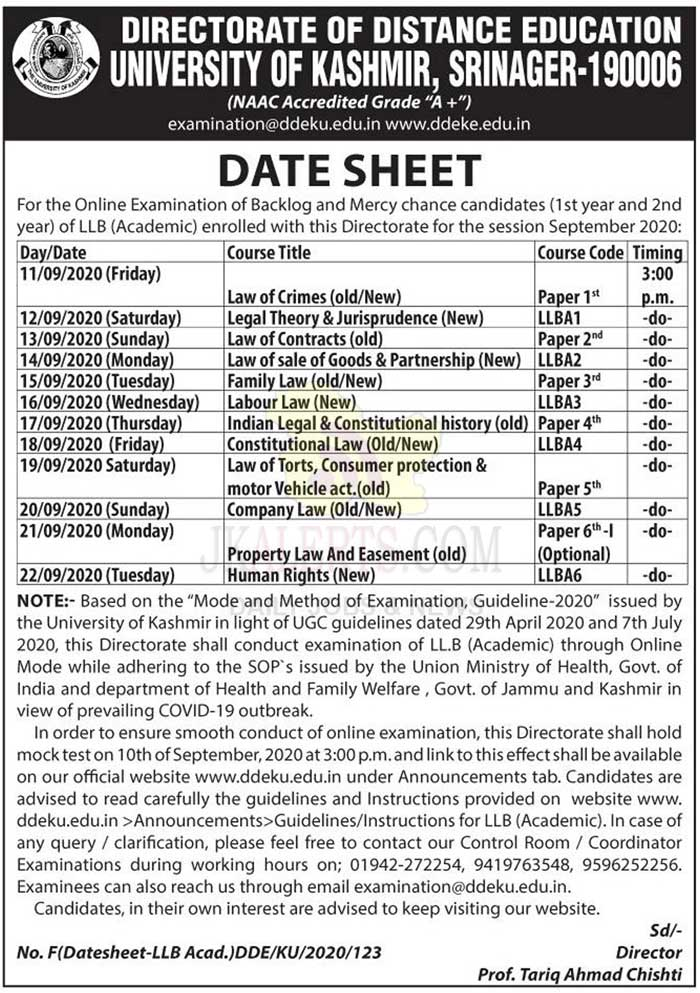 Distance Education University of Kashmir online examination LLB Date Sheet.