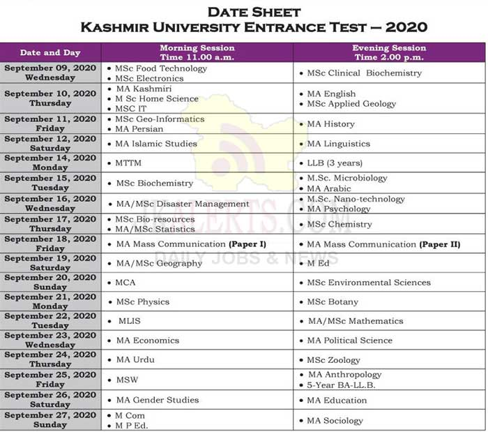 Kashmir University Entrance Test KUET 2020 Date Sheet.