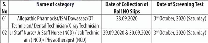 J&K NHM Kupwara Screening Test Notification.