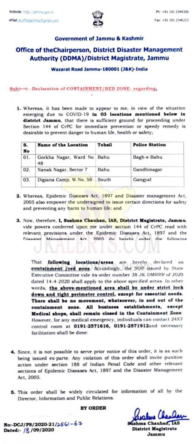 03 Jammu localities declared red zones after surge in COVID cases.