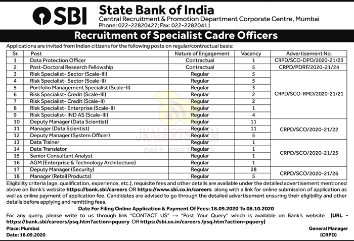 SBI Specialist cadre officers job recruitment 2020.