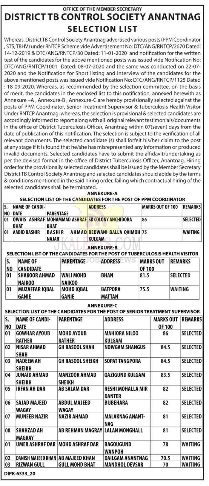 TB Control Society Anantnag PPM Coordinator Selection List.