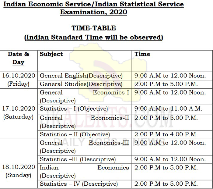 UPSC ISS 2020 Exam Schedule Announced.