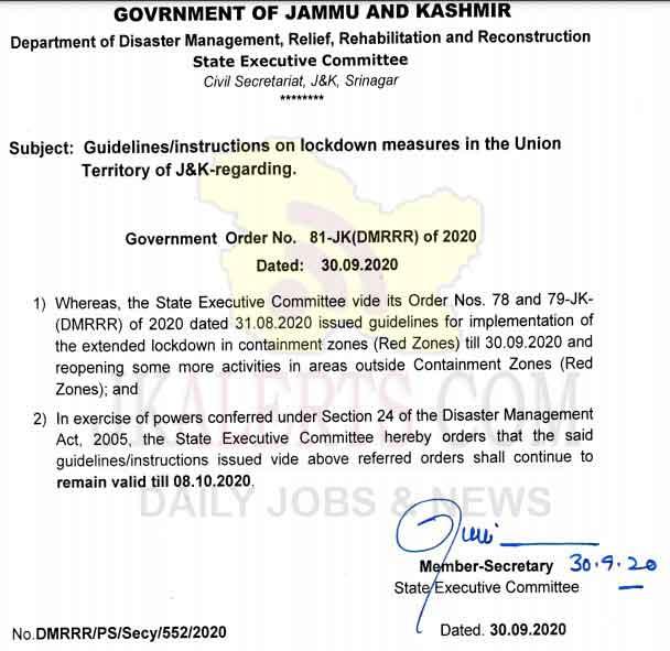 J&K UT extends unlockdown guidelines/instructions till 8 October 2020.