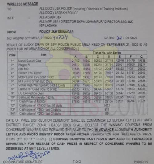 J&K Police Public Mela Result of Lucky draw 2020.