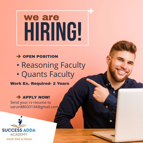 Reasoning Quantitative faculty required , competitive Exams, Success Adda Acedmy Jobs, Jobs in Success Adda Jammu, Success Adda Academy Jammu