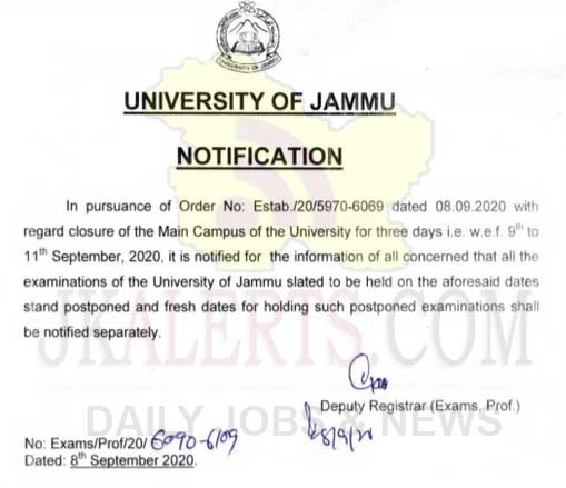 University of Jammu shall remain closed on September 9, 10 and 11.