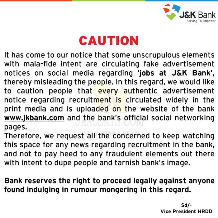 JKBANK Important Notice.