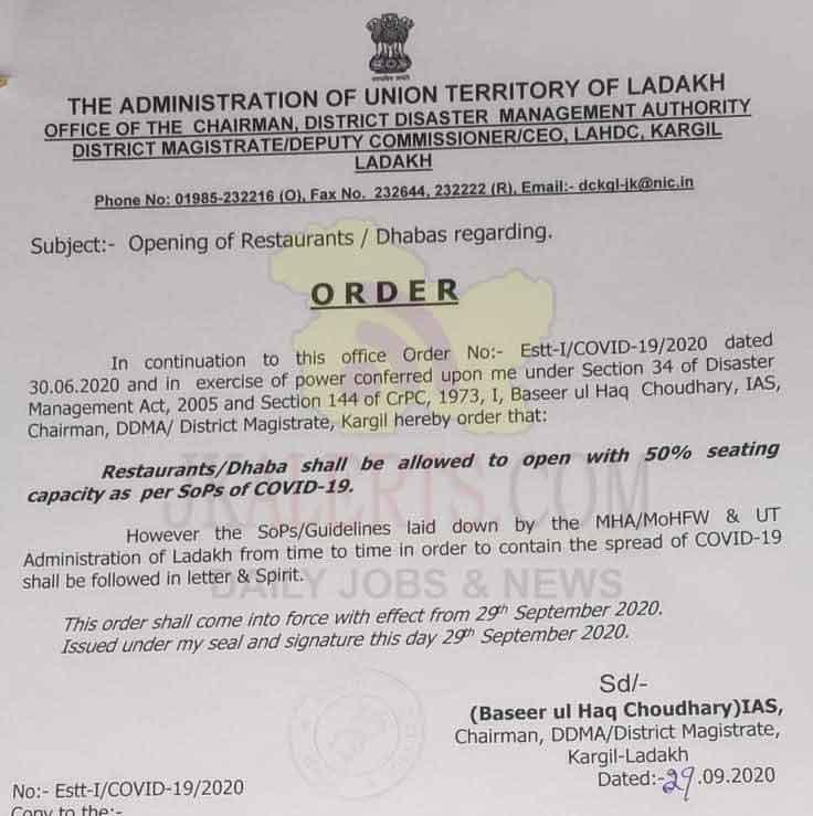 DM Kargil orders opening of Restaurants/Dhabas with 50% seating capacity.