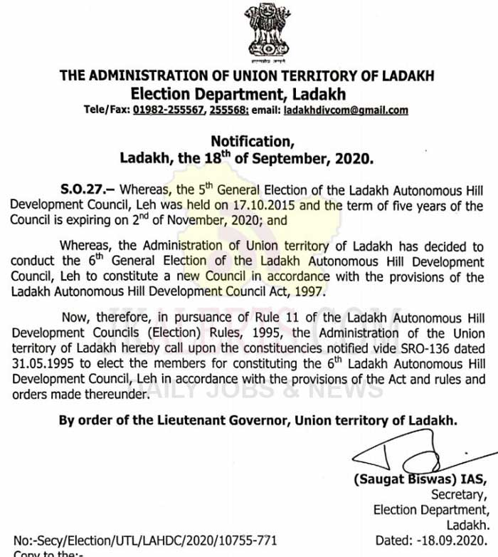 Ladakh: UT Admin announces 6th LAHDC Leh General Election.
