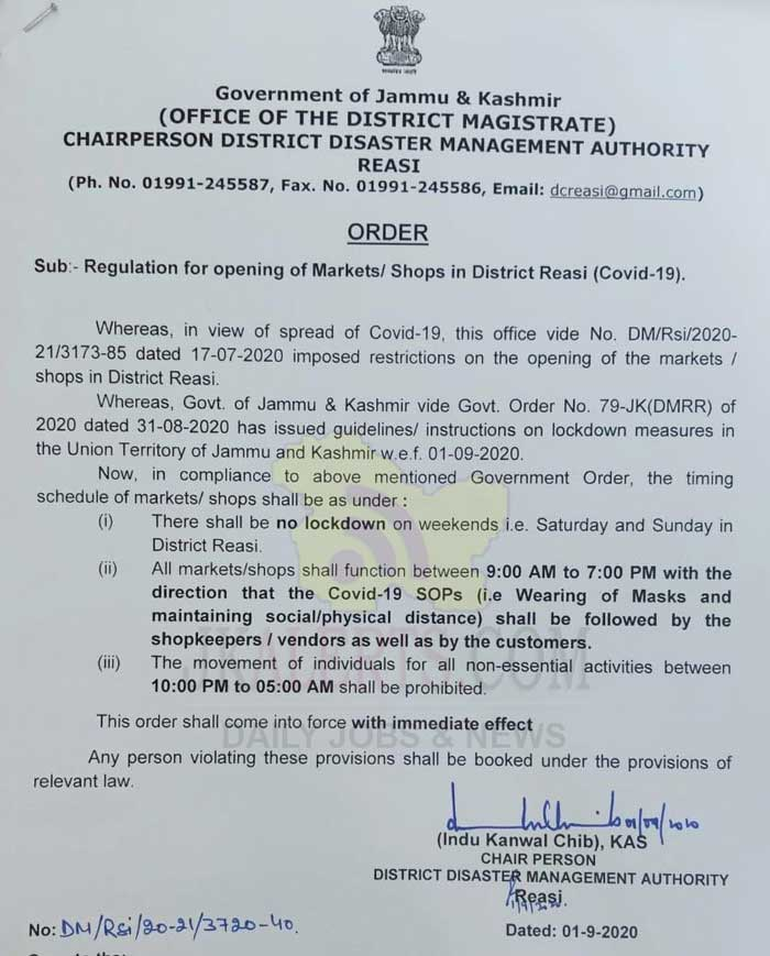 There shall be No Weekend Lockdown in district Reasi.
